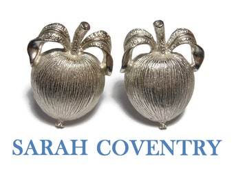 Sarah Coventry apple earrings,  1961 Sarah Glo, Adam's Delight,  silver clip earrings, on original card 7820, large clips