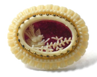 Bird in nest Brooch 1920s Celluloid unsigned Depose still with original red foil, rare, trombone clasp, ivory-colored