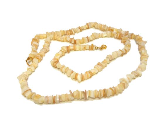Mother of pearl necklace, Mother of Pearl (MOP) small chip long necklace, could wrap twice as choker, made to order usually 30 to 32 inches