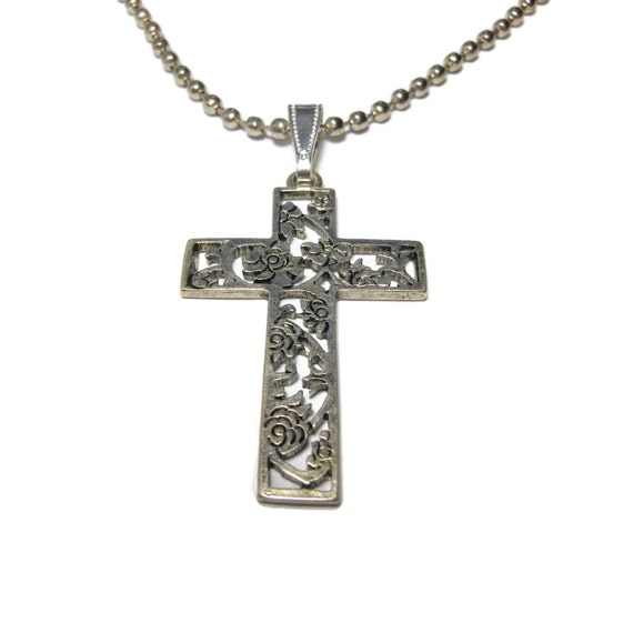 Floral cross pendant, open work scroll heart, industrial chic, silver ball chain