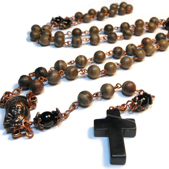 "Catholic rosary ""Silent Night"" wood grain marble beads with black agate Pater beads, blackstone cross, copper wire and center"
