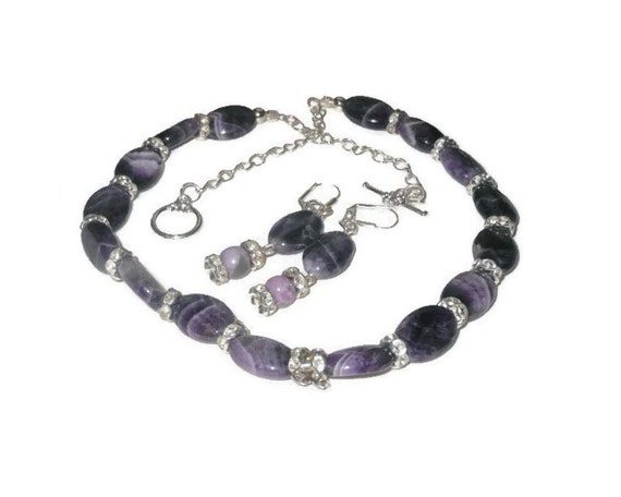 Amethyst and crystal necklace and pierced earrings, handmade set, can be shortened for choker, silver plated, natural gemstone