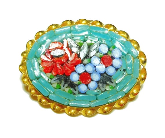 Micro mosaic floral brooch, handset Italian Micro Mosaic, small Italian tourist souvenir, turquoise background, flower bouquet