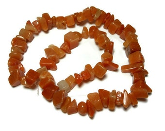 Red aventurine beads, large chip, natural gemstone, 15 inch strand, chips range from medium to large with an average size of large