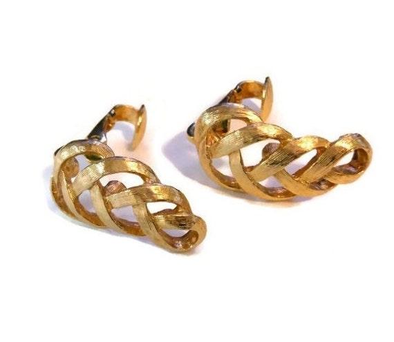 Avon clip earrings, brushed gold swirl pattern clip earrings, signed