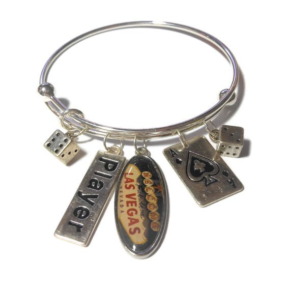 Casino gambling charm bracelet, Las Vegas charm, player charm, ace of spades, dice charms silver, adjustable bangle bracelet