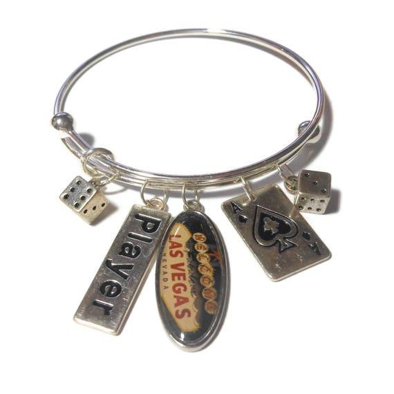 Casino gambling charm bracelet, Las Vegas charm, player charm, ace of spades, dice charms silver, adjustable bangle bracelet, handmade