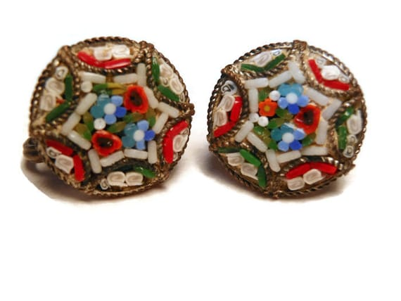 Grand Tour Earrings Antique Edwardian Fabbrica Angelo Pessar FAP handset Italian Micro Mosaic
