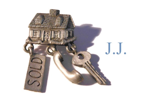 JJ pewter real estate brooch, house with sold, phone handset, and key charms dangling, realtor home owner Jonette Jewelry, pin tie tack