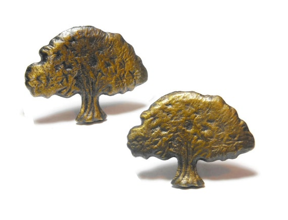 Rustic bronze tree cuff links, unique design oak tree, deciduous tree