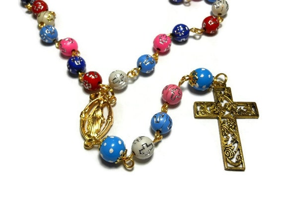 Cross beads rosary acrylic cross beads, upcycled hand painted polka dot Our Fathers, gold crucifix and Virgin Mary medal