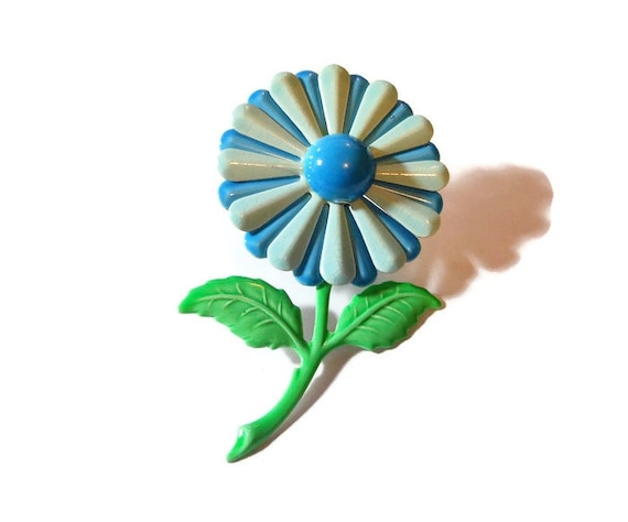 Blue daisy brooch pin, large 1960s powder blue and sky blue enamel flower floral dark blue center and green stem and leaves