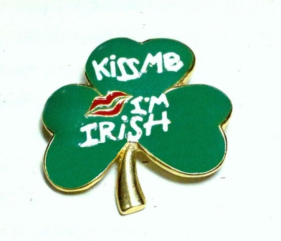 FREE SHIPPING Kiss Me I'm Irish shamrock brooch in white on green enamel with red lips SFJ signed