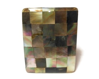 Black lip pendant, black lip, mother of pearl shell and resin focal bead, rectangular. Great for beach wear!