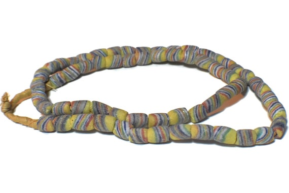 "African Ghana necklace, vintage sandcast glass trade bead necklace, 27 1/2"" long, yellow blue red green striped design"