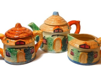 Hand painted tea set, 1940s cottage ware, made in occupied Japan, thatched cottage teapot, creamer and sugar bowl, English or Irish cottage!