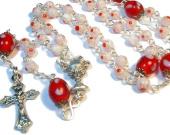 """Millefiori rosary """"Rejoicing"""" white red floral beads, lamp work centers,silver plated wire, crucifix and chalice medal center, handmade"""