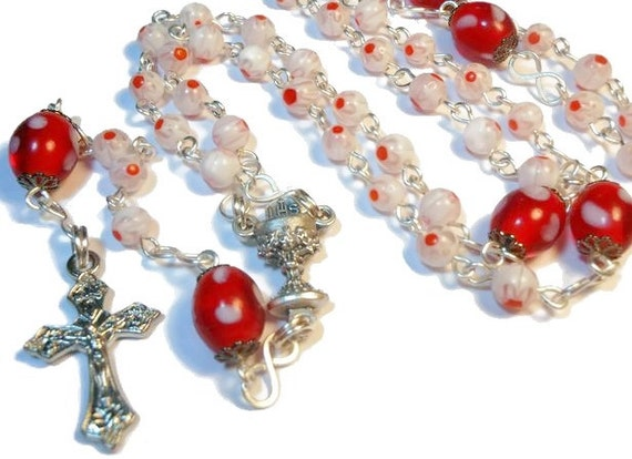 "Millefiori rosary ""Rejoicing"" white red floral beads, lamp work centers,silver plated wire, crucifix and chalice medal center, handmade"