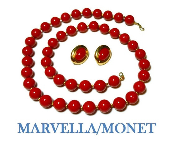 Marvella red necklace married to Monet red earrings, cherry red beads, gold spacers, red cabochon pierced earrings, gold frame