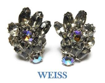 Weiss rhinestone earrings, black diamond rhinestone with ab (aurora borealis) rhinestone ear climbers, rhodium plated setting.