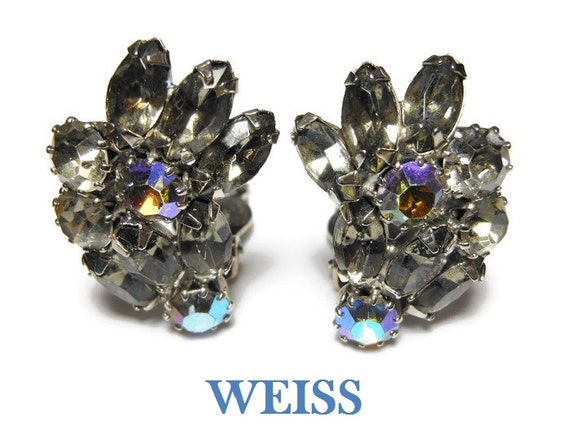 Weiss rhinestone earrings, black diamond rhinestone with ab (aurora borealis) rhinestone ear climbers, rhodium plated setting.