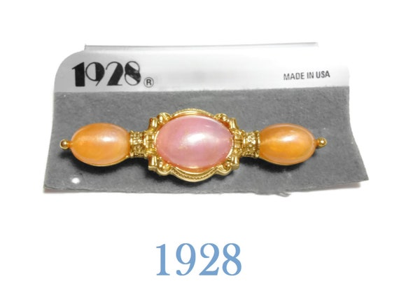 1928 pink bar pin, pink and orange brooch, faux pearl opalescence cabochons, gold frame and connectors, new old stock (NOS) on card