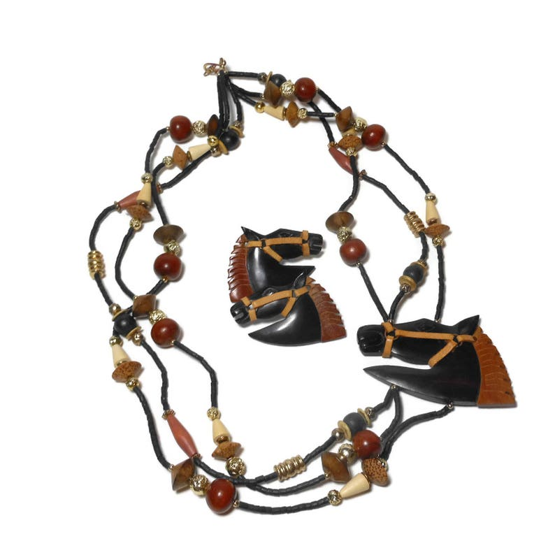 Wooden horse necklace and earrings browns creams carved tribal style lightweight beads boho ethnic statement ranch cowgirl