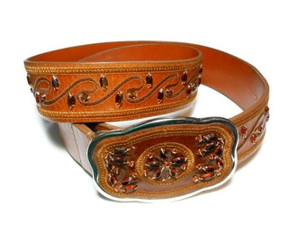 Leather rhinestone belt, brown leather, marked LW Genuine Leather Made in India, size small, women's western belt, sewn on faux rhinestones