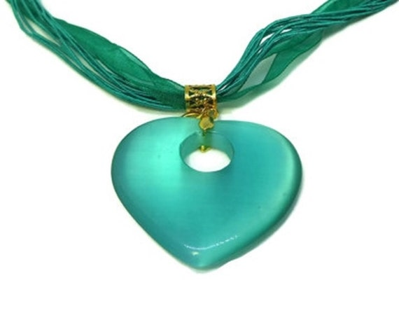Teal glass heart necklace, handmade cat's eye glass necklace,  green heart pendant, organza ribbon and cord, gold finish