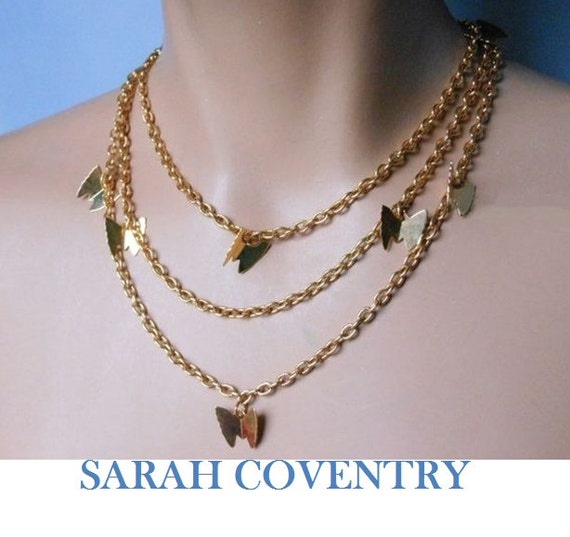 Sarah Coventry necklaces, four looks from 2 necklaces, gold chain, butterfly charms, set can be worn four different ways