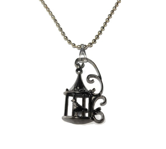Bird in cage pendant, gunmetal birdcage with bird, industrial chic, silver ball chain