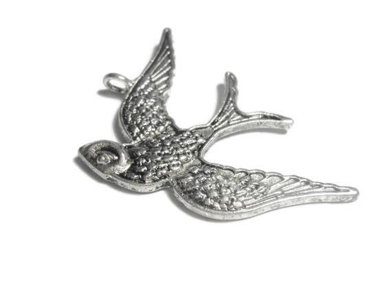 Swallow pendant focal, antiqued silver plated, 39x26mm single sided bird, sold individually