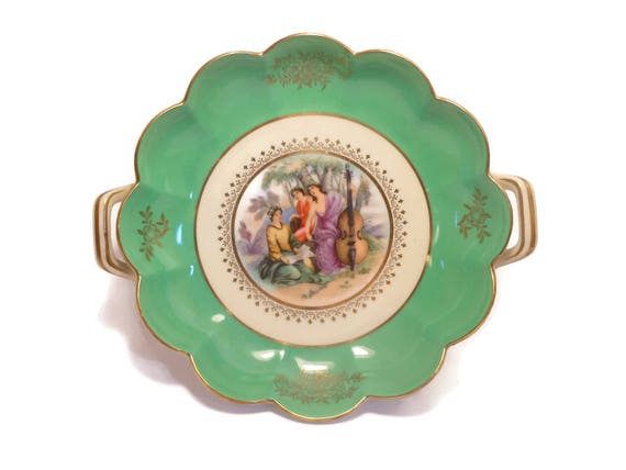 Noritake candy dish, small serving plate, 1930's era,  scenic 3 women one playing cello, green border, hand painted two handles gold rimmed