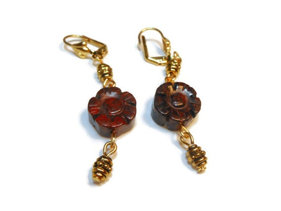 Brecciated Jasper earrings, floral flowers pierced  with gold plate beads and wire wrapping, handmade OOAK