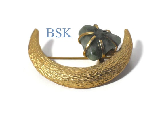 BSK moon brooch, figural moon pin mottled jade, prong set gemstone, brushed gold , finely detailed