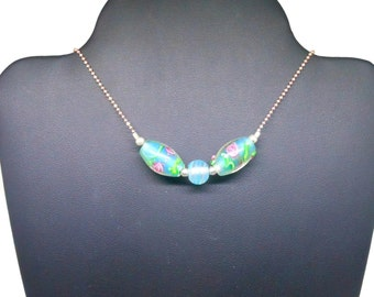Lampwork necklace, rose gold plated over sterling silver, two tone sterling & rose chain, blue green lampwork beads, floral beads, handmade
