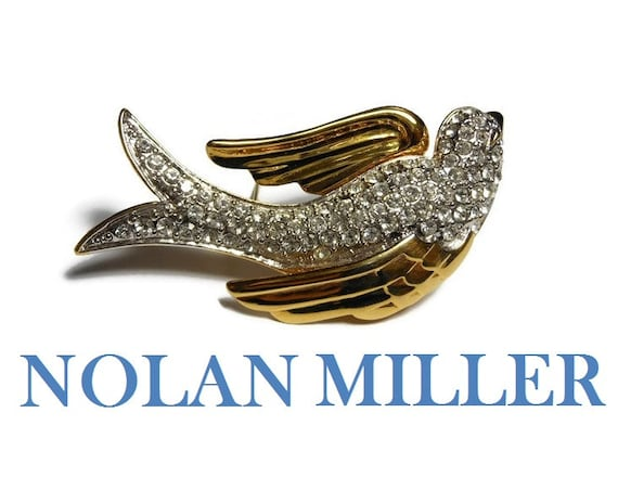 Nolan Miller bird brooch, pave crystal rhinestones with gold plated wings and bill, designer pin