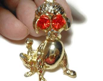 Poodle pendant with red rhinestone eyes, shabby chic or repurpose, gold tone dog charm