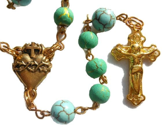 "Catholic rosary ""Christ in the Desert"" gold plated green desert sun beads with magnesite Our Father beads"