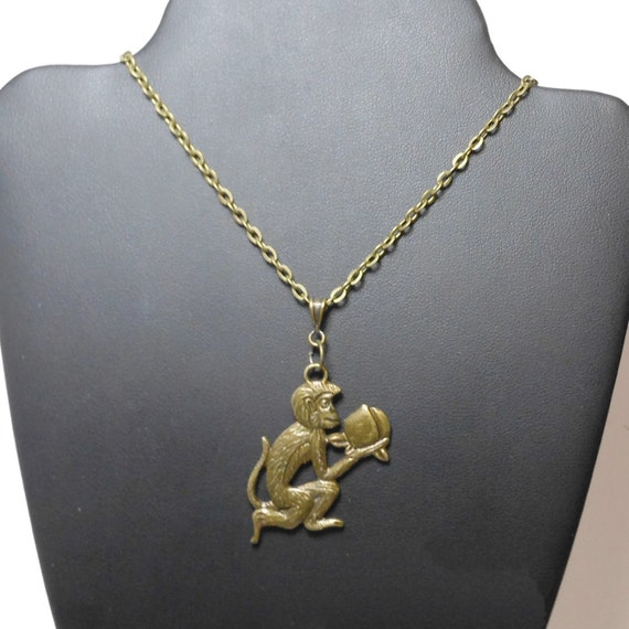 Antiqued brass monkey necklace, bronze link chain, simple fun necklace, year of the monkey