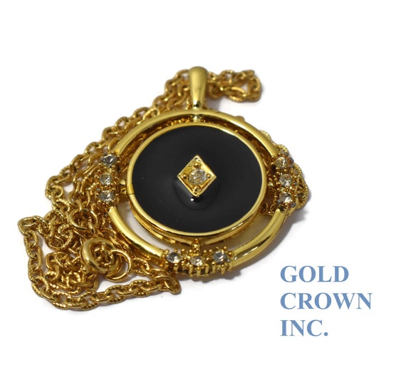Gold Crown Inc pendant, faux black onyx and faux diamond, cubic zirconia, clear rhinestone, round with open round frame, rolo notched chain