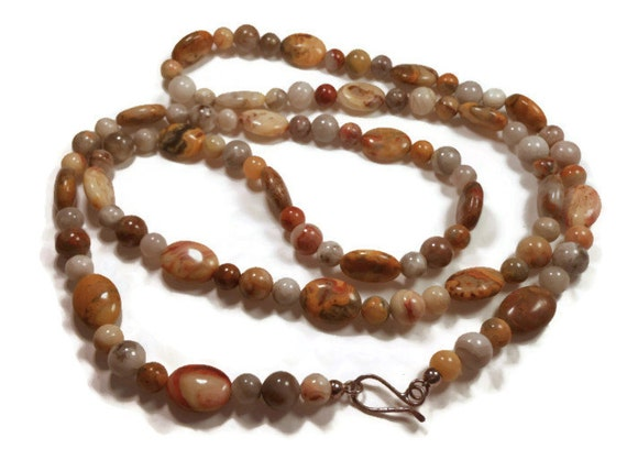 """Jay King necklace, Mine Finds signed, crazy lace agate long 43"""" sterling clasp, natural gemstones in brown shades"""