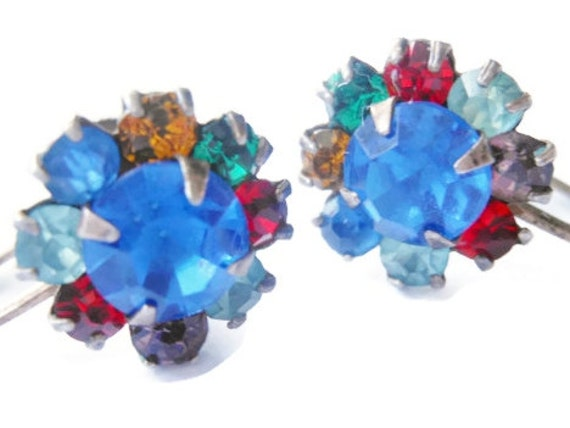 R.L. Griffith earrings, sterling silver, multi-colored, prong set rhinestone earrings, signed and marked sterling