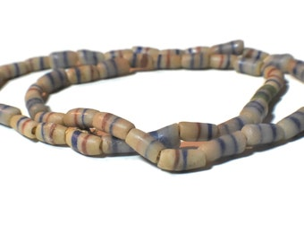 """African Ghana necklace, vintage sandcast glass trade bead necklace, 25"""" long, whitish gray blue red  design"""