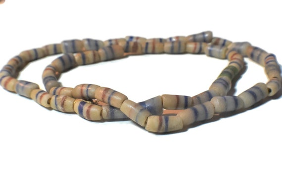 "African Ghana necklace, vintage sandcast glass trade bead necklace, 25"" long, whitish gray blue red  design"