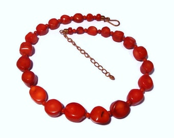 Jay King necklace DTR signed red bamboo coral with adjustable length