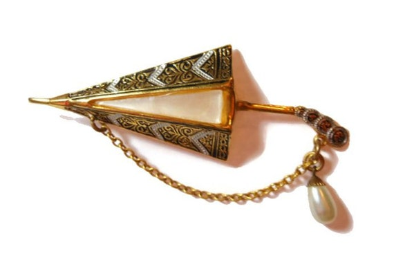 Damascene umbrella brooch, Toledo ware mother of pearl brooch with dangling chain and faux pearl drop, parasol, mid century.  Marked Spain