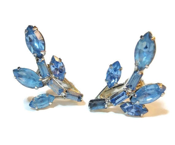 Blue rhinestone earrings,  wedding climber earrings, something blue clip mid century modern, silver plated, wedding bride bridal mother