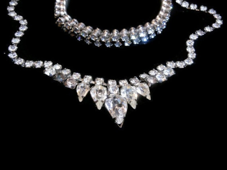 great as a bridal necklace and bracelet demi-parure with Austrian crystal clear rhinestones Weiss rhinestone necklace and bracelet