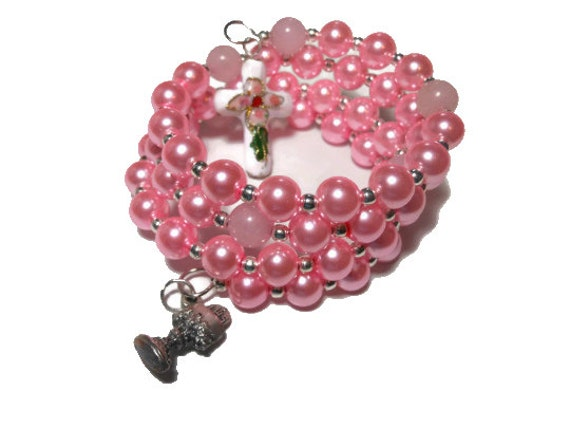 Communion Rosary bracelet five decade, pink glass pearls rose quartz Our Fathers, cloisonne cross, silver plated chalice medal
